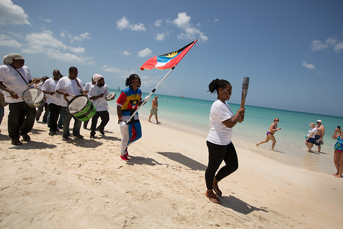The Queen's Baton relayed on Runaway Beach, in Antigua, on Saturday 22 March 2014. Antigua is nation 49 of 70 Commonwealth nations and territories to be visited by the Queen's Baton.