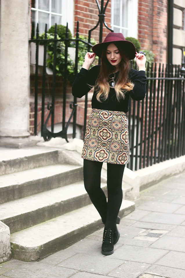 Topshop Tapestry Skirt Seventies Inspired Outfit