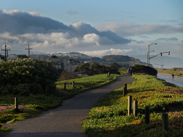on Great Highway boardwalk at Ocean Beach, San Francisco (2014)