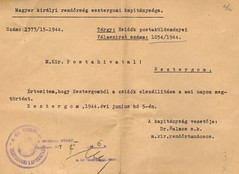 V/9. Zsidók postaküldeményei Magyar Királyi Postahivatal-Esztergom-1054-1944-03
