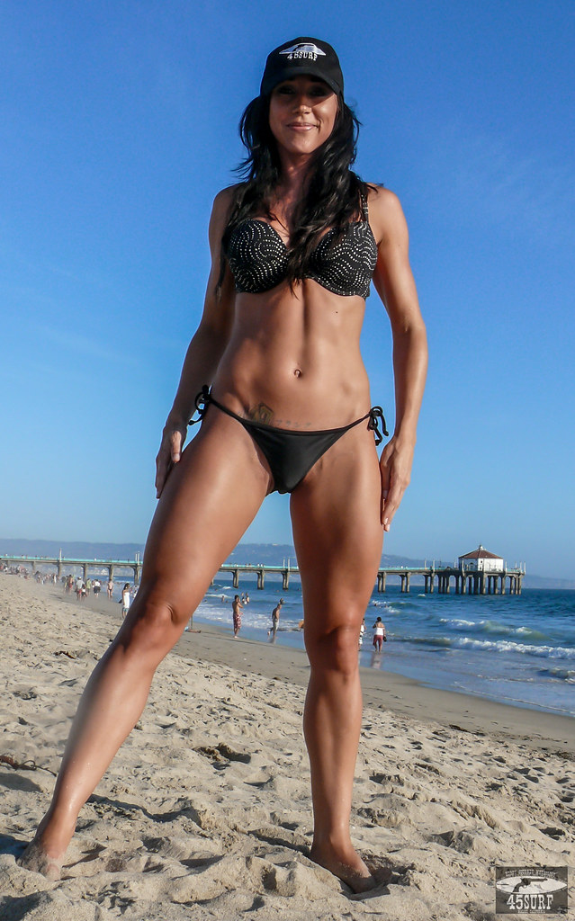 Beautiful Tall, Tan, Fit, Toned Brunette Body Builder Hero -6848