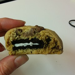 Holy crap. Baking for work stepped up - a cookie baked into a cookie. It's like eating a sugary turducken.