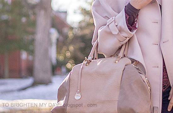 pink trench cape, burgundy lace top, taupe satchel