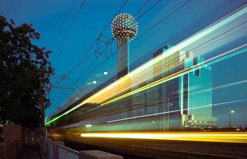 longexposure motion dallas texas unitedstates dusk teal tx trains lightrail dart hyattregencyhotel