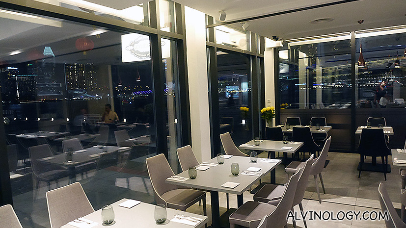 Restaurant interior with an awesome waterfront view