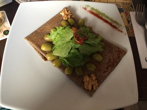 Arequipa: crêpe de cañihua (céréale d'altitude sans gluten)  au fromage de chèvre