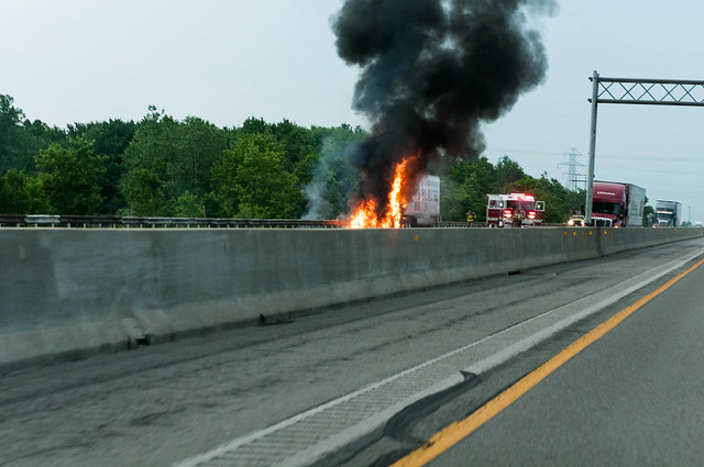 Tractor Trailer Fire I-80 WB