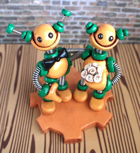 Commission: Robot Wedding Cake Topper: Rustic Gold and Green by HerArtSheLoves