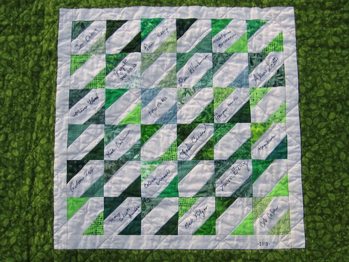 Celtic Motion quilt, signature panel