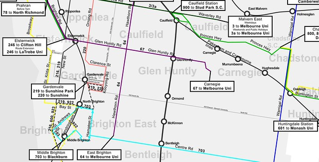 Frequent services map by Campbell Wright (southern suburbs excerpt)