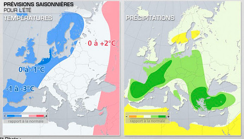 Mapes presentats al canal francès METEO amb la predicció estacional de temperatura i precipitació per a l'estiu de 2013.