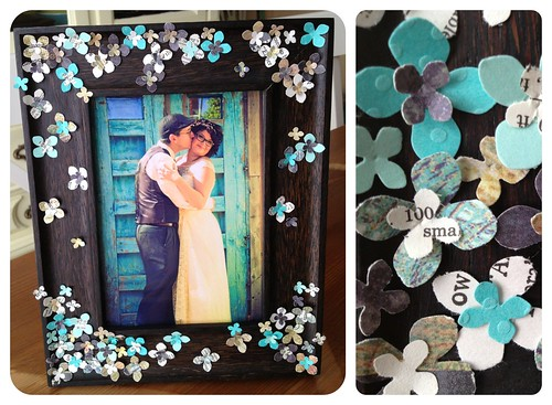 paper flower wedding frame by Heather Says