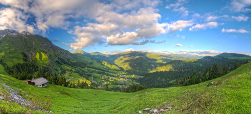 blue sky panorama mountain ski france alps green grass clouds rural french farm country scenic spot panoramic resort mont blanc col hdr aravis hugin coldesaravis