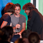 A huddle of Literary Death Match judges: Dawn O'Porter, Craig Silvey and Neil Gaiman |