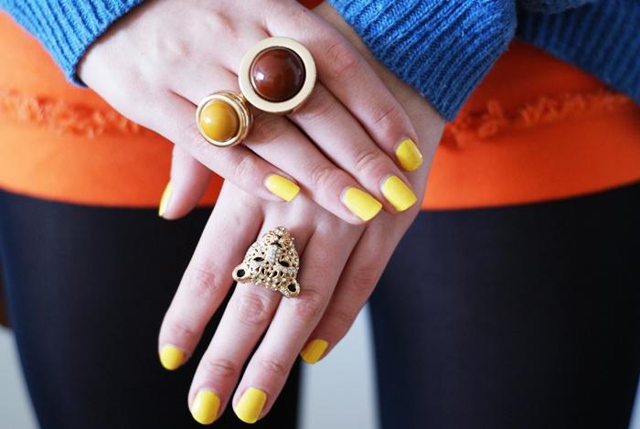 kolorowe paznokcie żółte