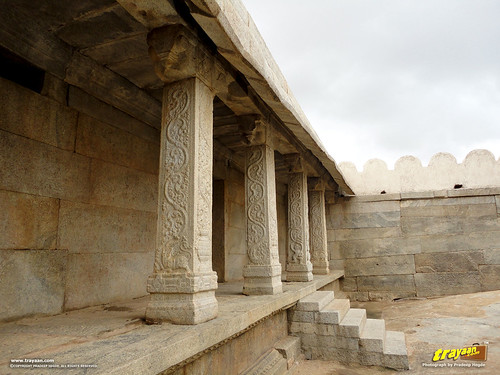 Designs on Saree borders and other fabrics are told to be inspired by these intricately carved pillars inside the Veerabhadra Swamy Temple complex at Lepakshi, in Andhra Pradesh, India