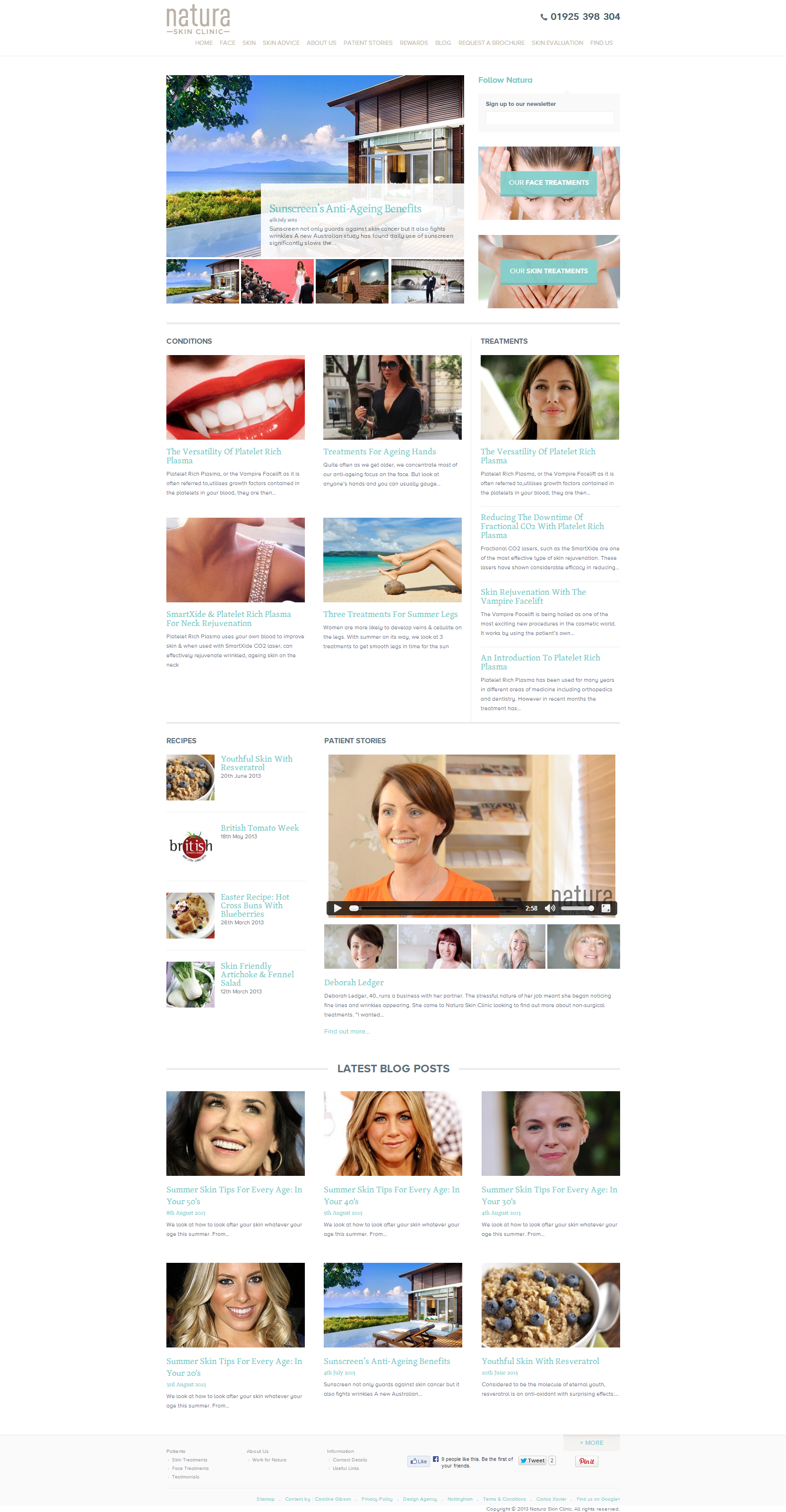 Natura Skin Clinic Beautiful Health Website by Website