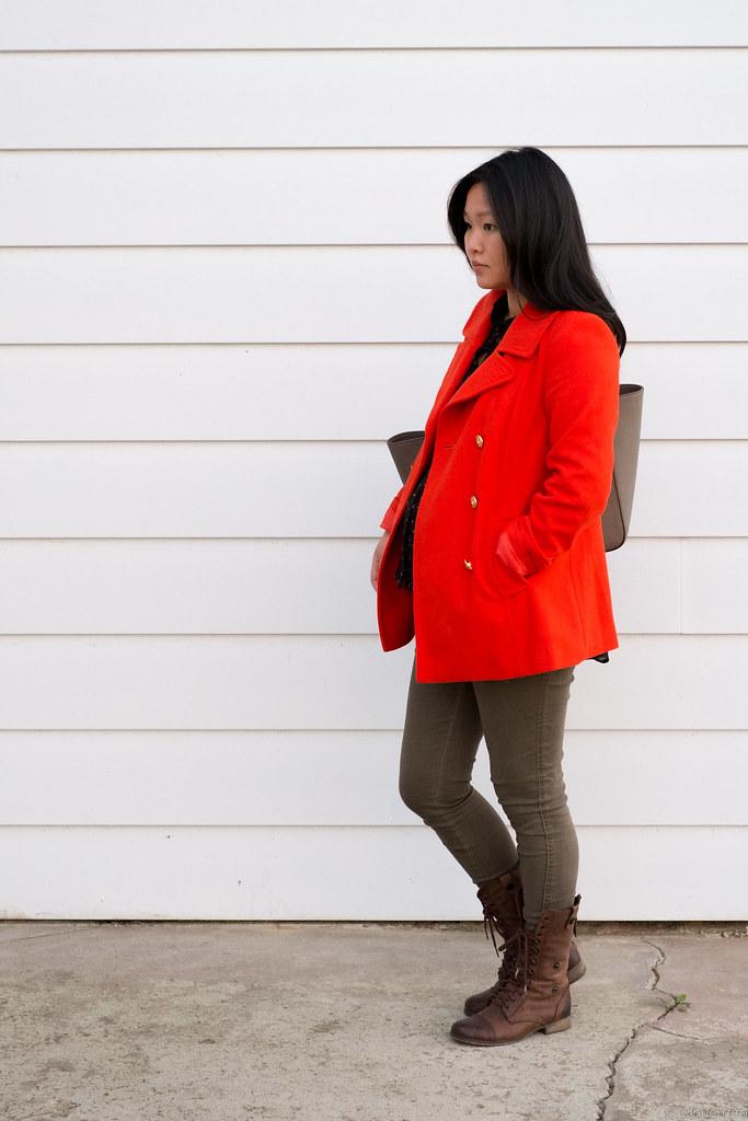 Old Navy orange coat, Old Navy maternity skinny jeans