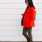 old navy orange peacoat