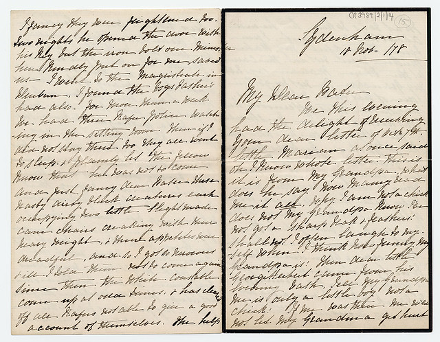 George Eliot Letter: CR3989/2/1/14 pages 1 and 4