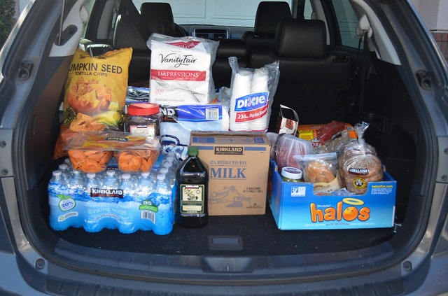 An open car trunk filled with groceries.