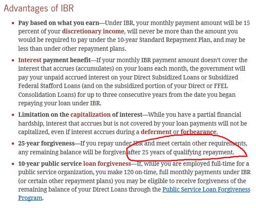 IBR repayment forgiveness