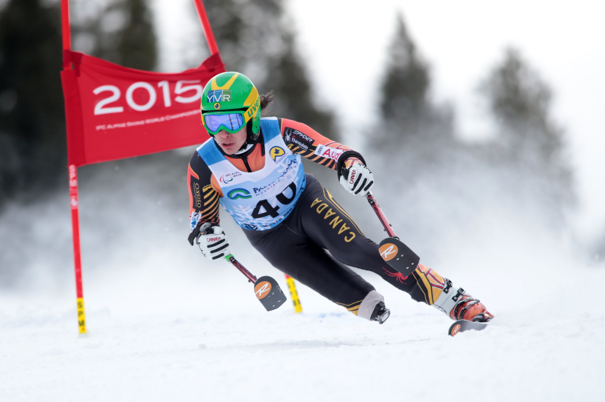 Braydon Luscombe in action during the Super-G in Panorama, CAN
