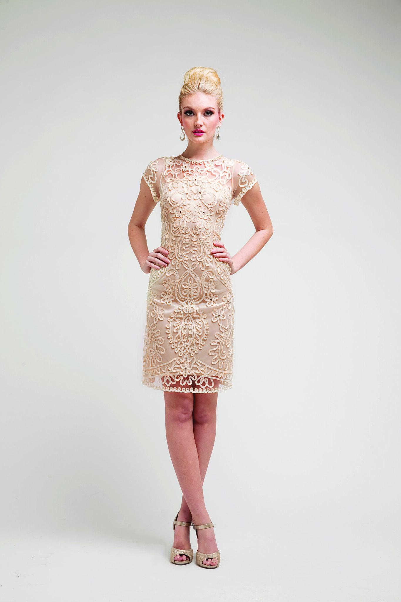 Modest Elegant Cocktail Dress Embroidered Design Short