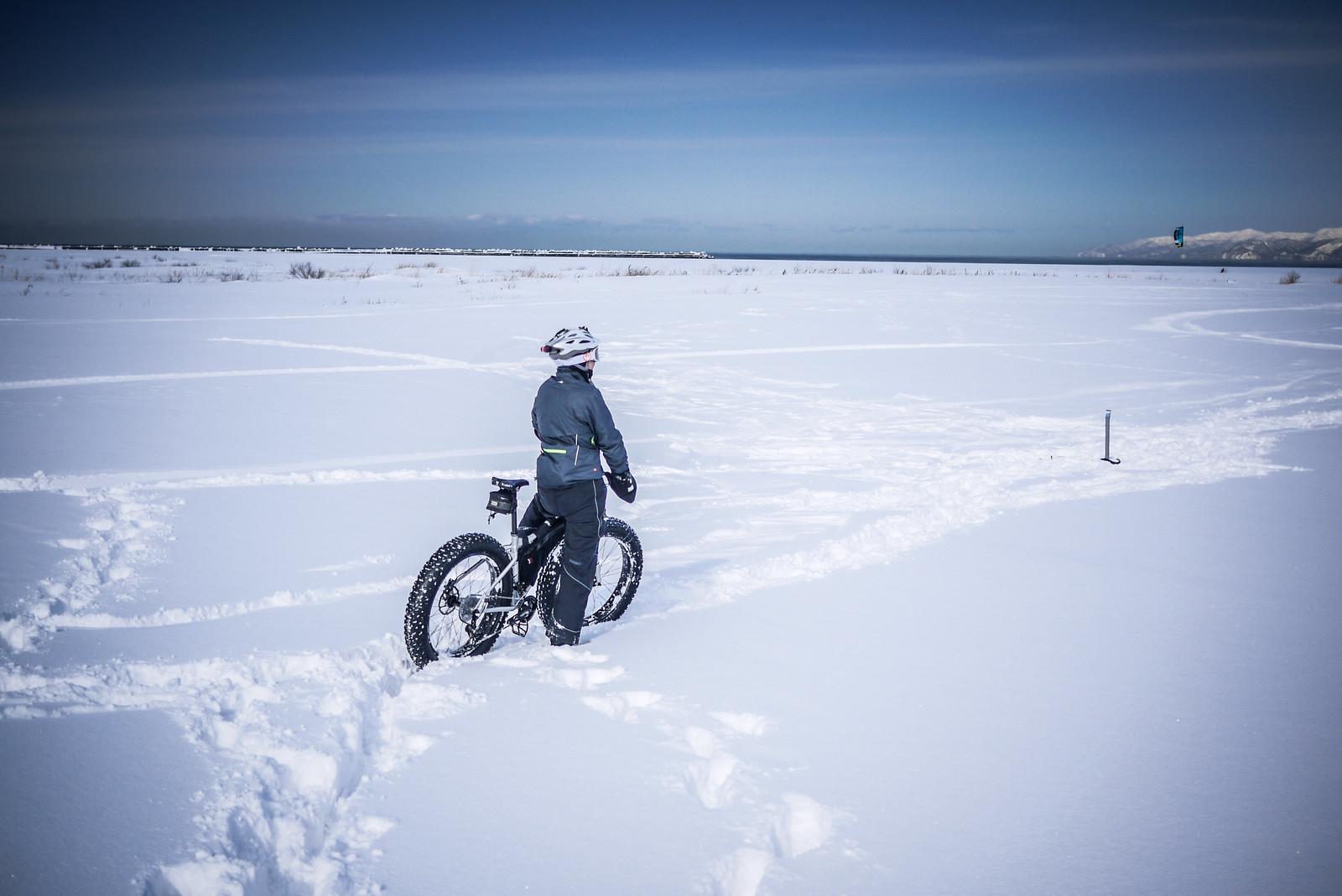 Winter cycling along Ishikari Beach, near Sapporo, Japan