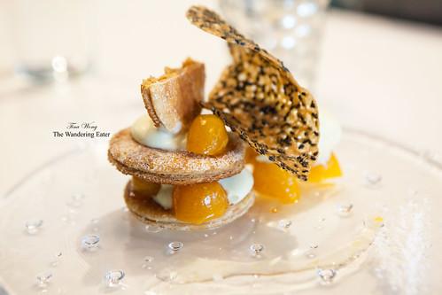 Kumquat millefeuille with kumquat ice cream and black sesame tuile