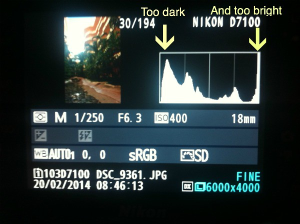 How to Take Better Travel Photos - Understanding the Histogram - High Contrast Histogram