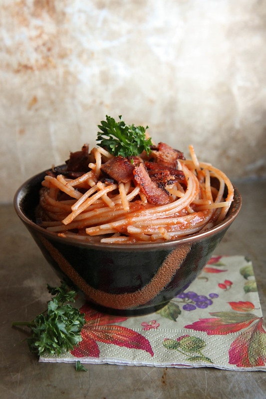 Pasta with Tomato and Bacon- vegan/ gluten free