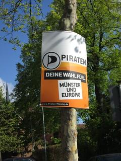 Wahlplakat der Piraten Münster in Roxel für die Kommunalwahl 2014