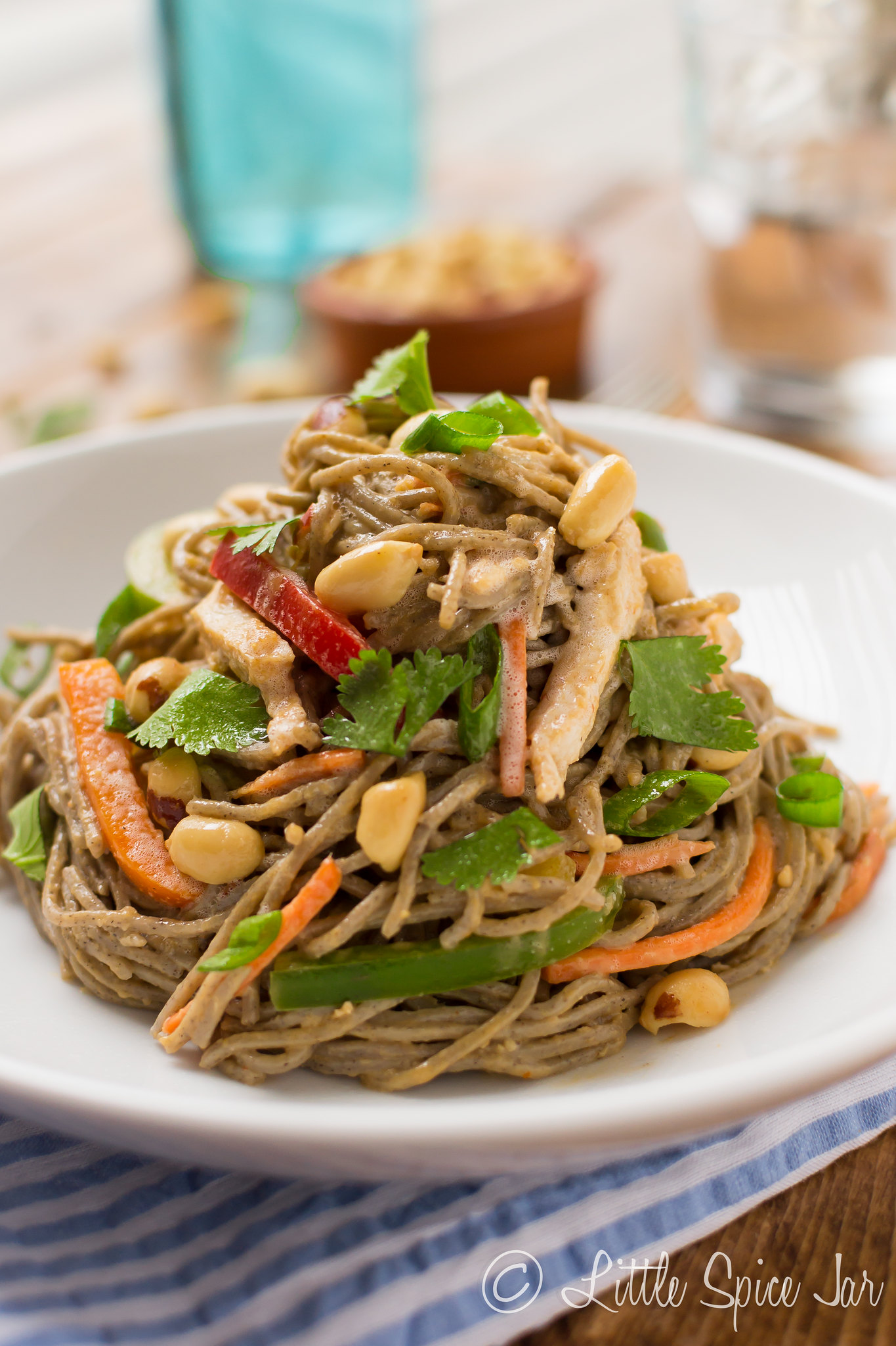 swirled soba noodle salad on white plate topped with peanuts, chicken, and bell peppers