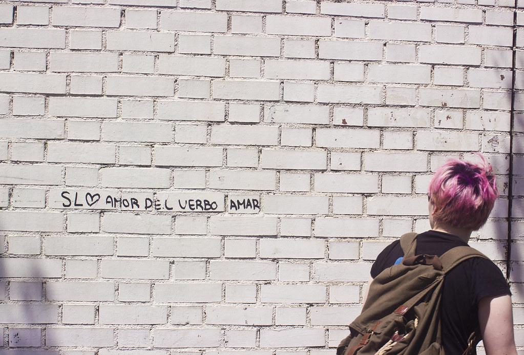 graffiti in barceloneta with carina pink hair