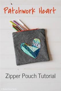 patchwork heart zipper pouch