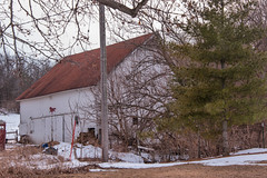 barn, building, winter, tree, snow, shack, cottage, house, sugar house, home, rural area,