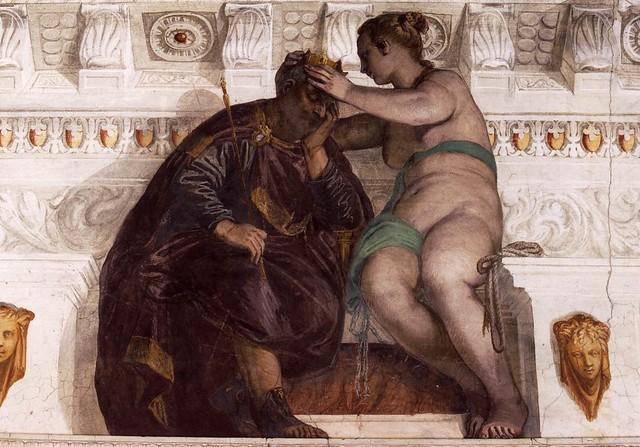 Paolo Veronese, Villa Barbaro, Maser, Die Chance krönt einen schlafenden Mann (Chance Crowning a Sleeping Man)
