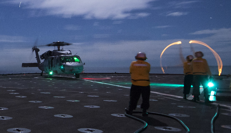 USS Rushmore conducts deck landing qualifications.