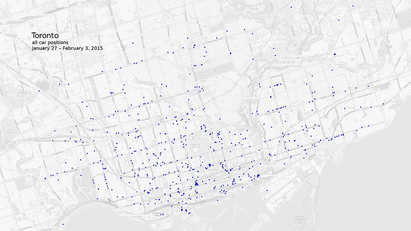 Map of all car2go vehicle positions in Toronto
