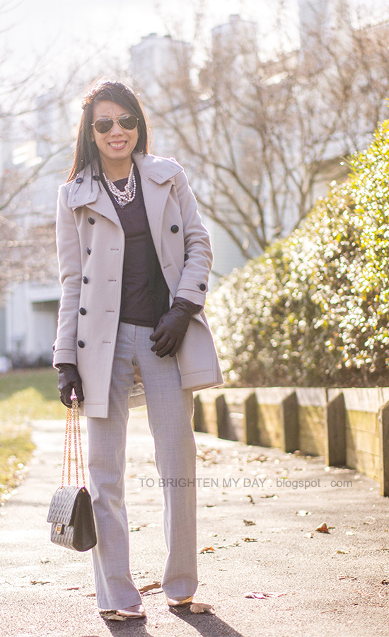 gray wool trench coat, black vest, purple tee, mixed metal necklace, purple gloves, gray pants, rose gold metallic wedges