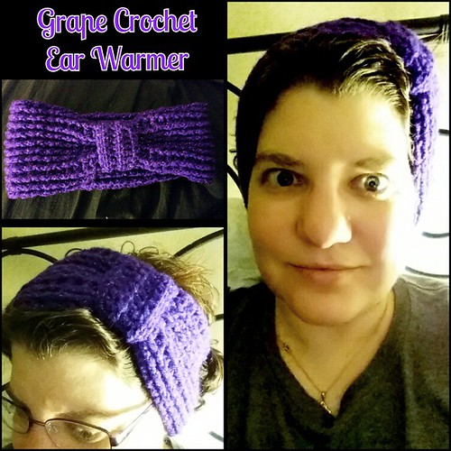 sparkly grape colored ear warmer. crochet. #PhotoGrid #phoenixrosdesign #violet #sparkle #crochet #earwarmer #handicraft #hairbands