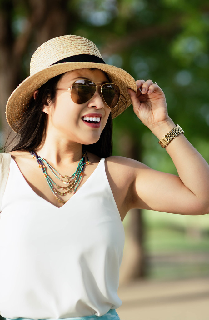 cute & little blog | petite fashion | straw sun hat, white strappy tank, ray ban aviators, j.jill turquoise bead necklace | spring summer outfit