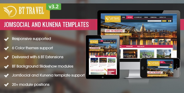 BT Travel v3.2.1 - Jomsocial and Kunena Template