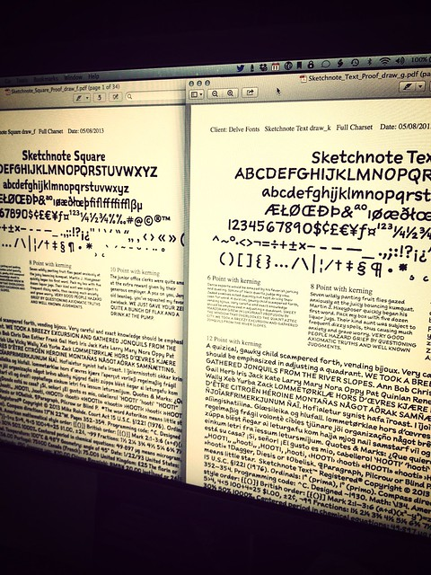 The Sketchnote Typeface gets closer to release! These are proof sheets from @delvew