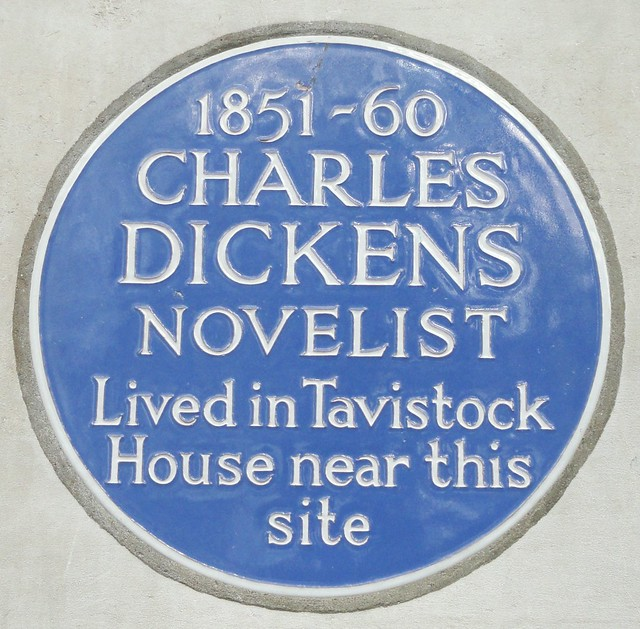 Charles Dickens blue plaque - 1851-60 Charles Dickens novelist lived in Tavistock House near this site
