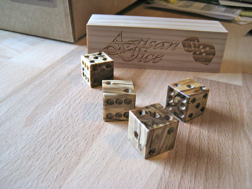 Artisan dice, spalted Norway maple