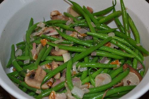 Haricot verts: Lightly sauteed with herbs, onions, radishes and pecans