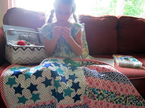 Aria and her flag quilt