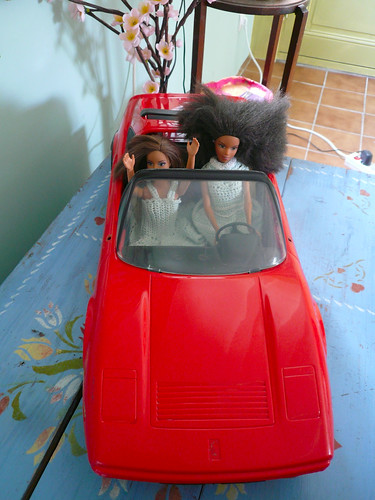Barbies in car